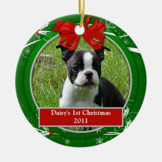 Bessen van de Hulst van 1st Kerstmis van het puppy Rond Keramisch Ornament