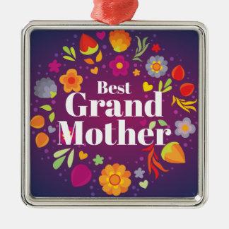 Beste Grootmoeder Zilverkleurig Vierkant Ornament