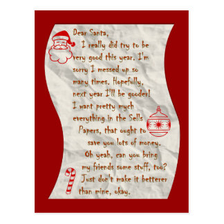Beste Kerstman, Briefkaart