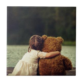 Beste Vrienden een Meisje en Haar Teddybeer Tegeltje Vierkant Small