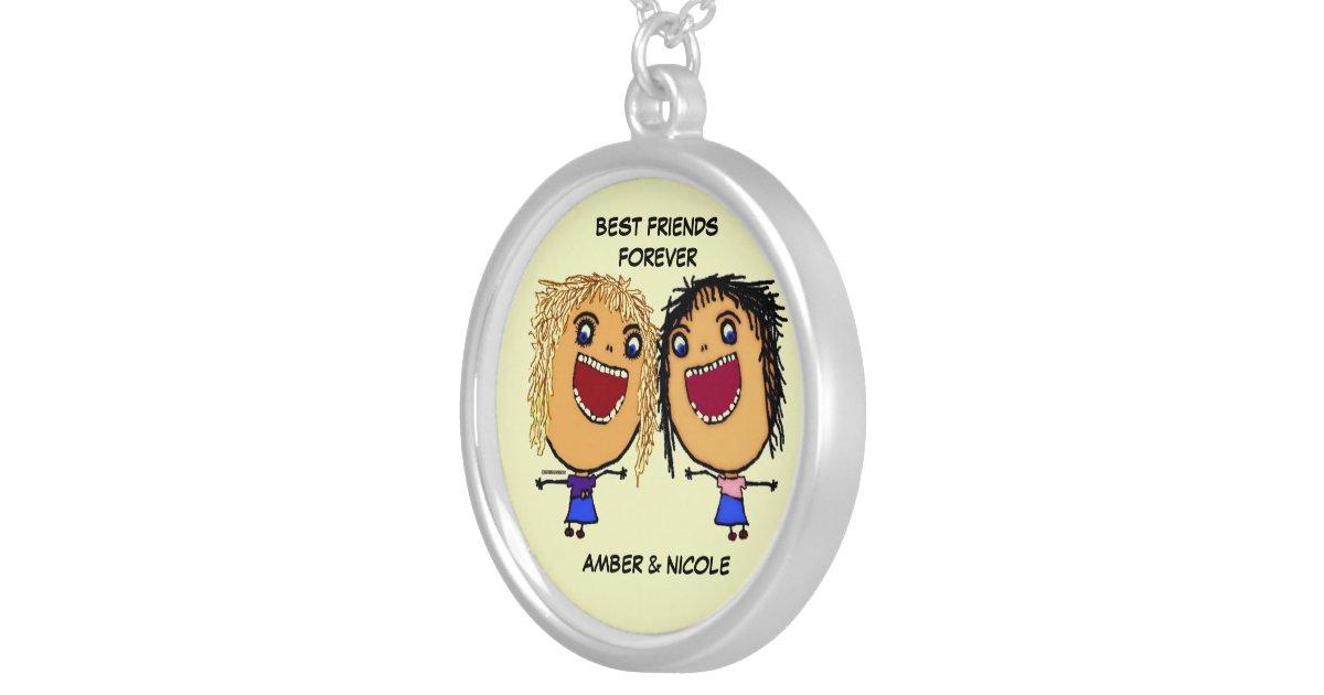 Beste vrienden voor de cartoon van het leven ketting rond hangertje zazzle - Kleur idee voor het leven ...