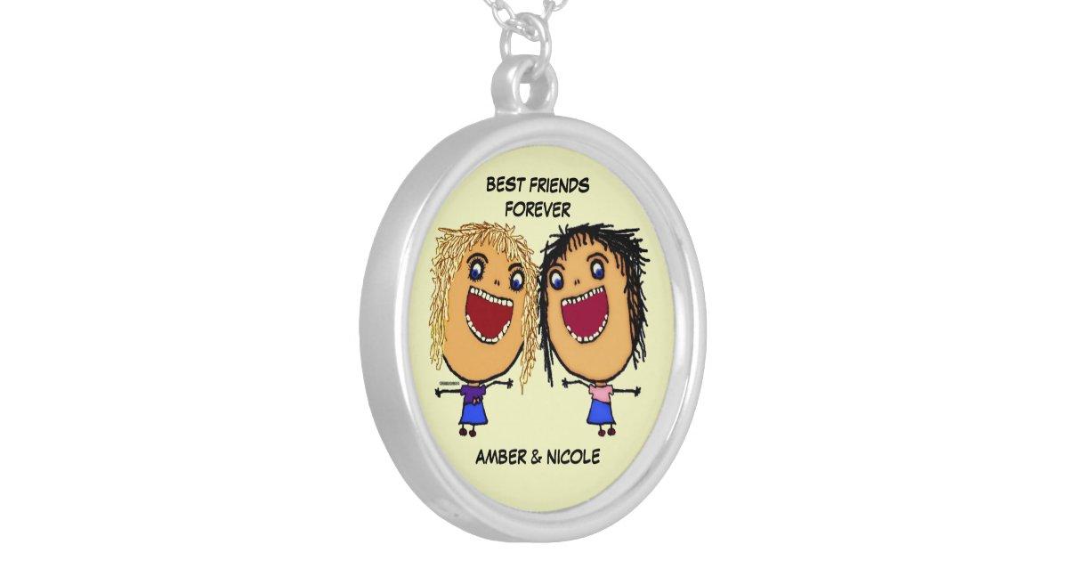 Beste vrienden voor de cartoon van het leven zilver vergulden ketting - Decoratie eenvoudig voor het leven ...