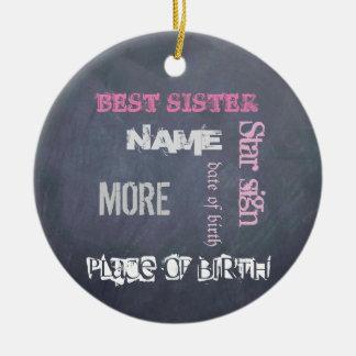 BESTE ZUSTER gepersonaliseerd bord Rond Keramisch Ornament