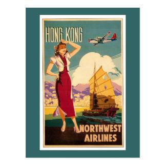 Bestemming: Retro Grafisch van Hong Kong Briefkaart