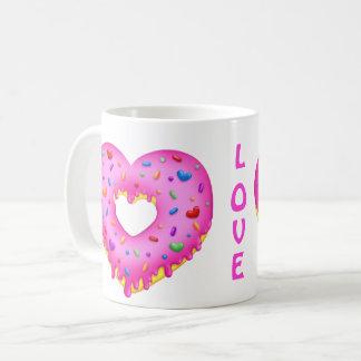 Bestrooit de Roze Doughnut van het hart met Koffiemok