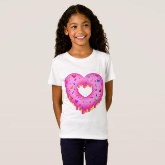 Bestrooit de Roze Doughnut van het hart met T Shirt