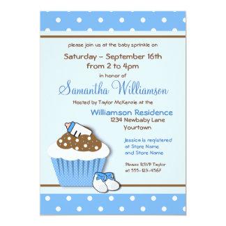 Bestrooit het Blauwe Baby Cupcakes van Cutie 12,7x17,8 Uitnodiging Kaart