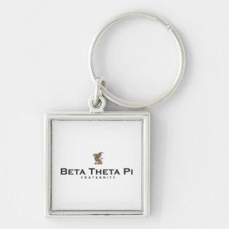 Bèta Theta Pi met Draak - Kleur Zilverkleurige Vierkante Sleutelhanger