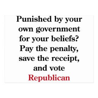 Betaal de boete, stemRepublikein Briefkaart