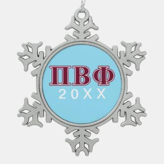 BètaPhi van pi Kastanjebruine Brieven Tin Sneeuwvlok Ornament
