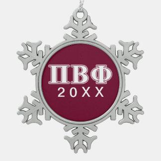 BètaPhi van pi Witte en Kastanjebruine Brieven Tin Sneeuwvlok Ornament