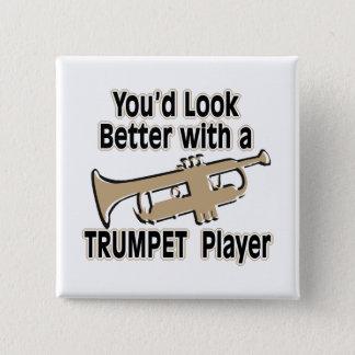 Beter met een Trompetter Vierkante Button 5,1 Cm