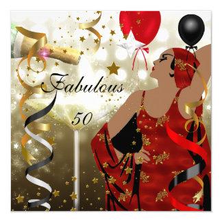 Betoverende Dame Fabulous 50 de Partij van 13,3x13,3 Vierkante Uitnodiging Kaart