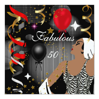 Betoverende Dame Fabulous 50 Partij van Verjaardag 13,3x13,3 Vierkante Uitnodiging Kaart