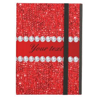 Betoverende Rode Lovertjes Faux en Diamanten iPad Air Hoesje