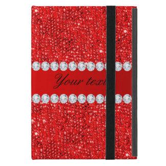 Betoverende Rode Lovertjes Faux en Diamanten iPad Mini Hoesje