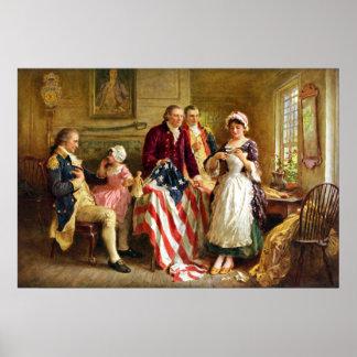 Betsy Ross en Algemeen George Washington Poster