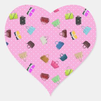 Beurzen, Stippen en Roze Achtergrond Hart Sticker