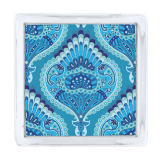 Bevederde Paisley - Blueish Verzilverde Reverspeld