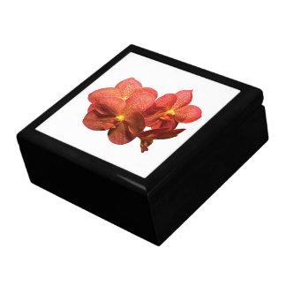Bevlekte Oranje Orchidee Vierkant Opbergdoosje Large