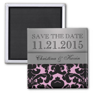 Bewaart het Roze & Zilveren Heerlijke Damast van h Vierkante Magneet