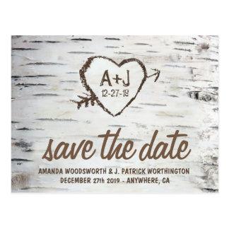 Bewaart het Rustieke Huwelijk van de Schors van de Briefkaart