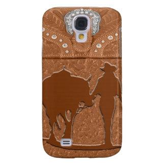 """Bewerkt Leer """"Veedrijfster & Paard"""" Westerne IPhon Galaxy S4 Hoesje"""