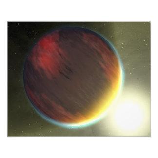 Bewolkt Jupiter-als planeet die cirkelt Fotoafdruk