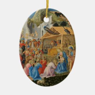 Bewondering van Magi (door Fra Angelico) Keramisch Ovaal Ornament