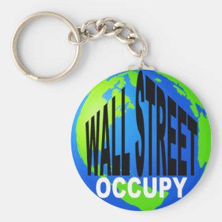 Bezet Globaal Wall Street Basic Ronde Button Sleutelhanger
