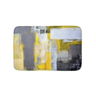 """""""Bezig, Bezig"""" Grijs en Geel Abstract Art. Badmat"""