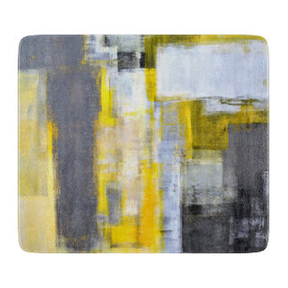 """""""Bezig, Bezig"""" Grijs en Geel Abstract Art. Snijplank"""