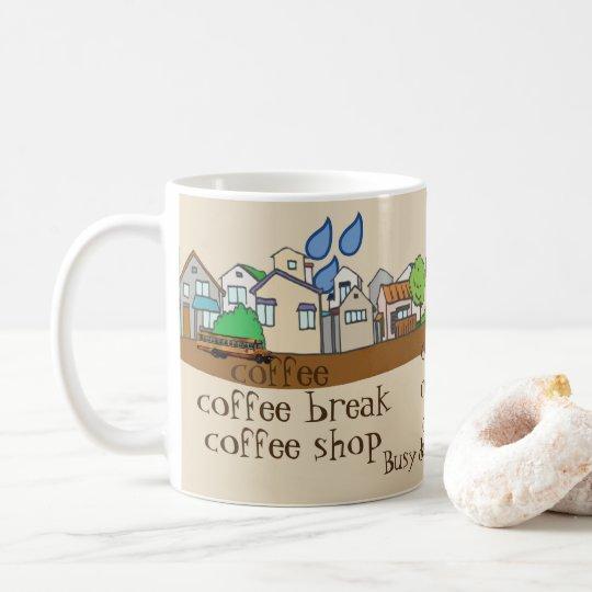 Bezige dag in koffiestad koffiemok