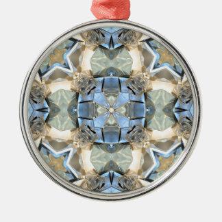 Bezinningen van Blauw en Gouden Zilverkleurig Rond Ornament