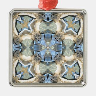 Bezinningen van Blauw en Gouden Zilverkleurig Vierkant Ornament