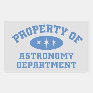 Bezit van de Afdeling van de Astronomie Rechthoekige Sticker