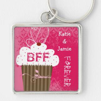 BFF Beste Vrienden voor altijd Cupcake Keychain Zilverkleurige Vierkante Sleutelhanger
