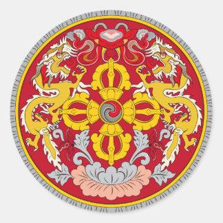 Bhutan embleem. Het motief van de draak Ronde Sticker