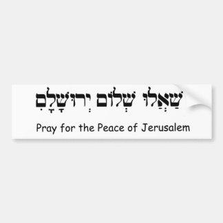 Bid voor de Vrede van Jeruzalem Bumpersticker