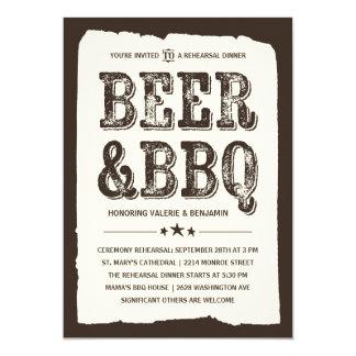 Bier & BBQ | het Rustieke Diner van de Repetitie 12,7x17,8 Uitnodiging Kaart