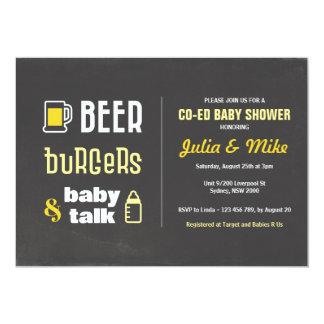 Bier Burgers & de Bespreking van het Baby, de 12,7x17,8 Uitnodiging Kaart