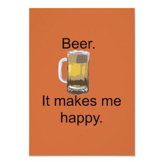 Bier. Het maakt me Gelukkig 12,7x17,8 Uitnodiging Kaart