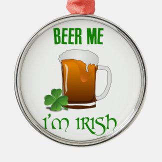 Bier me ben ik Iers Zilverkleurig Rond Ornament