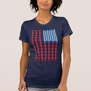 Bier Pong die de Amerikaanse Vlag van het Spel T Shirt