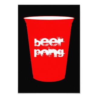 bier pong: rode partijkop 8,9x12,7 uitnodiging kaart