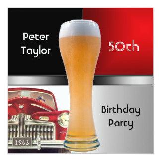 Bier van de Auto van de mannen Verjaardag van 13,3x13,3 Vierkante Uitnodiging Kaart