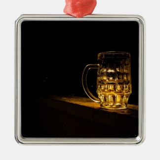 Bier… Zilverkleurig Vierkant Ornament