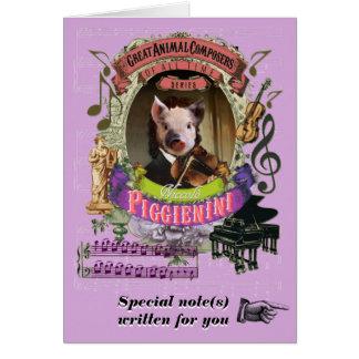 Biggetje van de Componist van Piggienini van de Wenskaart