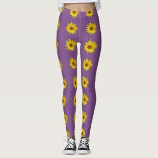 Bij op een zonnebloem met paarse achtergrond leggings