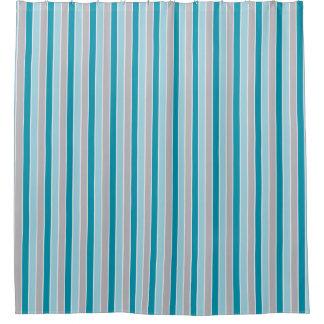Bijgewerkte Zeevaart kiezelachtige strepen, blauwe Douchegordijn